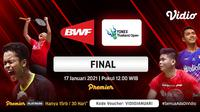 Live streaming final Yonex Thailand Open 2021, Minggu (17/1/2021) pukul 12.00 WIB dapat disaksikan melalui platform Vidio. (Dok. Vidio)