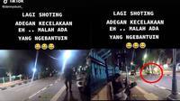 Pengendara motor bantu orang kecelakaan yang ternyata lagi syuting (Sumber: TikTok/dennystunt_)