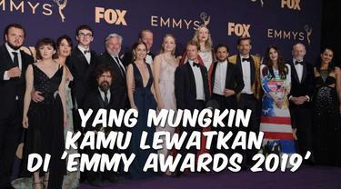 Emmy Awards 2019 telah tuntas digelar di Microsoft Theater, Los Angeles, pada Senin (23/9/2019) pagi waktu Indonesia. Setelah Creative Arts Emmys digelar pada minggu lalu, hari ini piala Emmy diserahkan kepada pemain, sutradara, penulis, juga produse...
