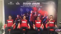 Konferensi pers jelang putaran final Audisi Umum Beasiswa Bulu Tangkis 2019 di GOR Jati, Selasa (19/11/2019). (Liputan6.com/Harley Ikhsan)