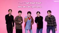 Super Junior menyanyikan lagu versi bahasa Indonesia. (Tangkapan layar YouTube/ Tokopedia)