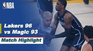 Berita video highlights laga seru NBA 2020/2021 hari ini, LA Lakers menang 96-93 atas Orlando Magic, Senin (29/3/2021) pagi hari WIB.