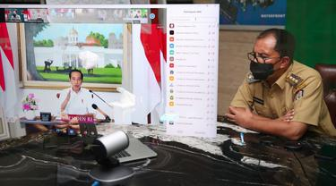 Rapat virtual kepala daerah bersama Jokowi (Liputan6.com/Fauzan)