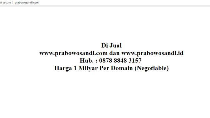 Website prabowosandi.com dijual di internet seharga Rp 1 miliar dan masih bisa dinego (Liputan6.com/ Agustin Setyo W)