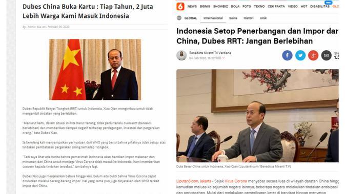 Cek Fakta: Dubes China Xiao Qian Buka Kartu 2 Juta Penduduk RRT ke Indonesia Tiap Tahun? (Screenshot)