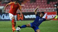 Chalermpong Kerdkaew terpilih jadi kapten Timnas Thailand di Piala AFF 2018. (AFP/Lillian Suwanrumpha)