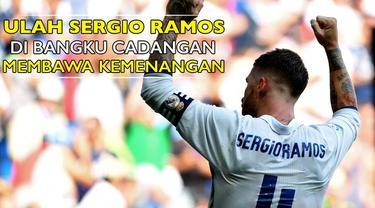 "Video Sergio Ramos yang ""berulah"" di bangku cadangan pada Derbi Madrid antara Atletico Madrid vs Real Madrid di Vicente Calderon Stadium pekan lalu."