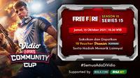 Jadwal dan Live Streaming Vidio Community Cup Season 15 Free Fire Series 15, Jumat 15 Oktober 2021.