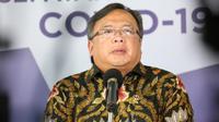 Menristek Bambang P. S. Brodjonegoro menyampaikan, kementeriannya tengah melakukan uji klinis terhadap jahe merah, jambu biji, dan minyak kelapa murni untuk COVID-19 di Graha BNPB, Jakarta, Minggu (3/5/2020). (Dok Badan Nasional Penanggulangan Bencana/BNPB)