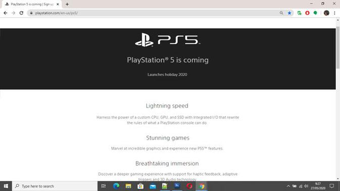 Situs web PS5. (Doc: Sony PlayStation)