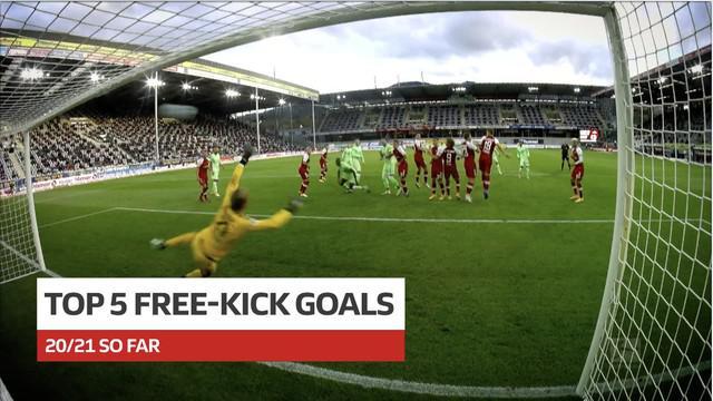 Berita video para pencetak gol free kick terbaik Bundesliga 2020/2021 sejauh ini, salah satunya milik bek Bayern Munchen, David Alaba.