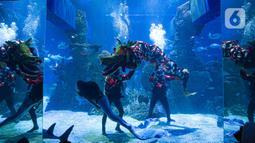Liong dan putri duyung menghibur pengunjung di Jakarta Aquarium & Safari (JAQS), Jakarta Barat, Jumat (12/2/2021). Pertunjukan Liong Show bawah air yang diikuti oleh para putri duyung tersebut untuk memeriahkan Hari Raya Imlek 2572 atau Tahun Baru China. (Liputan6.com/Faizal Fanani)