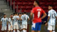 Timnas Argentina meraih kemenangan 1-0 atas Paraguay pada laga ketiga Grup A Copa America 2021 di Estadio Nacional de Brasilia, Selasa (22/6/2021) pagi WIB. (AP Photo/Ricardo Mazalan)