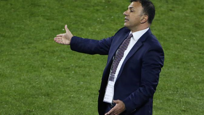 Pelatih Timnas Makedonia Utara, Igor Angelovski. (AFP/THILO SCHMUELGEN)