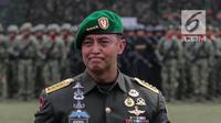 Pejabat baru Kepala Staf TNI Angkatan Darat (KSAD) Jenderal Andika Perkasa saat upacara serah terima jabatan di Mabes TNI AD, Jakarta, Kamis (29/11). (Liputan6.com/Faizal Fanani)