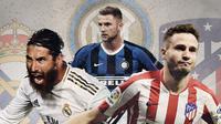Sergio Ramos, Milan Skriniar dan Saul Niguez. (Bola.com/Dody Iryawan)