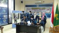 Dewan Pimpinan Pusat Konfederasi Sarikat Buruh Muslimin Indonesia (DPP K-Sarbumusi) menggelar jumpa pers menolak RUU Cipta Kerja. (Istimewa)