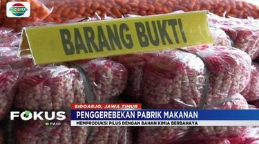 Tim Satgas Pangan Polda Jawa Timur menggerebek pabrik makanan ringan mengandung zat berbahaya beromzet Rp 300 juta per bulan di Sidoarjo.