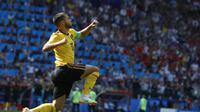 Eden Hazard cetak gol pertama untuk Belgia (AP Photo/Hassan Ammar)