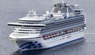 Kapal pesiar Diamond Princess berlabuh di Pelabuhan Yokohama saat kedatangan di Yokohama, Tokyo (4/2/2020). Langkah karantina dilakukan setelah penumpang 80 tahun yang turun dari kapal pesiar itu di Hong Kong pada 25 Januari lalu, dinyatakan positif terinfeksi virus corona. (Kyodo News via AP)