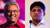 Dua kandidat utama dalam Pilpres Sri Lanka 2019, Gotabaya Rajapaksa (kiri) dan Sajith Premadasa. Rajapaksa mengklaim kemenangan setelah unggul pada hitungan sementara yang diperkirakan akan berakhir pada Minggu, 17 November 2019 waktu lokal (AFP Photo)