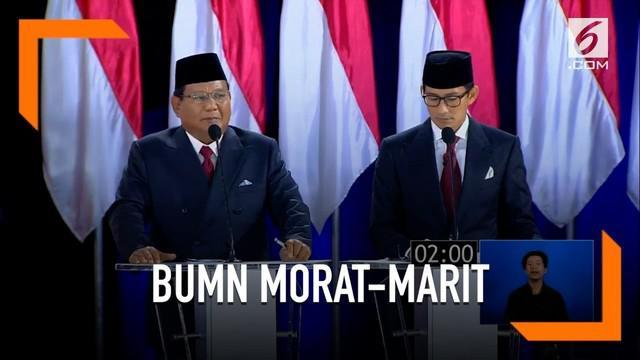 Prabowo sebut kondisi BUMN di Indonesia sudah morat-marit dan butuh penanganan.