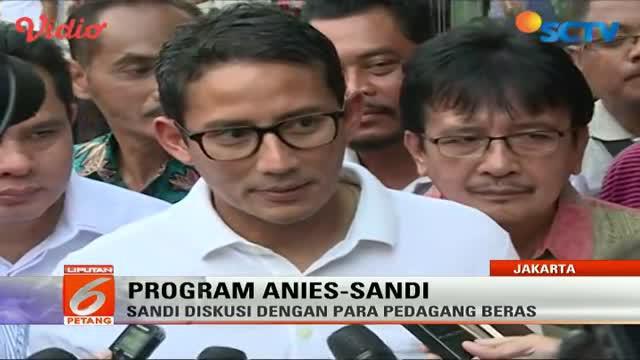 Sandiaga Uno blusukan ke pasar beras Cipinang untuk melihat stok dan kualitas beras yang akan didistribusikan di Jakarta