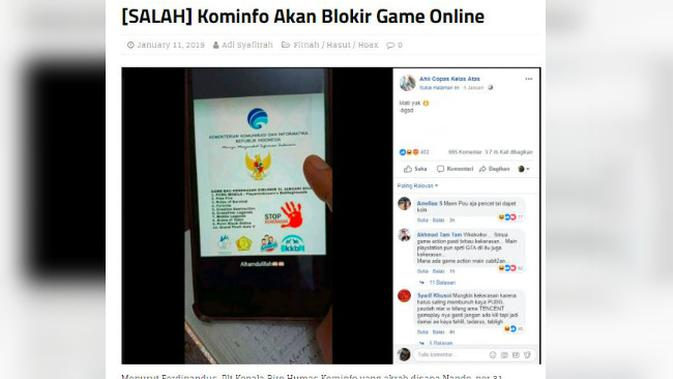 [Cek Fakta] Hoaks Pemerintah Blokir Game Online