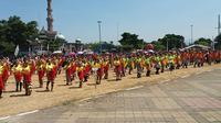 1.000 penari geol menyambut panji daerah dan kirab di Hari Jadi Banjarnegara ke-187. (Foto: Liputan6.com/Muhamad Ridlo)