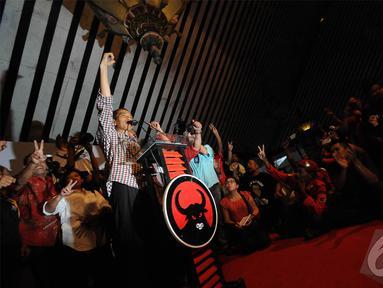 Jokowi menutup safari politiknya di Jawa Tengah dengan menyampaikan orasi politik di Taman Budaya Surakarta, Sabtu (14/6/2014) (Liputan6.com/Herman Zakharia).