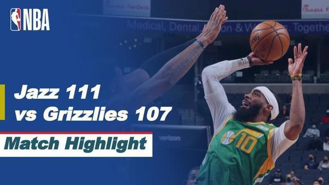 Berita video highlights NBA 2021 antara Memphis Grizzlies melawan Utah Jazz yang berakhir dengan skor 107-111, Kamis (1/4/2021) pagi hari WIB.