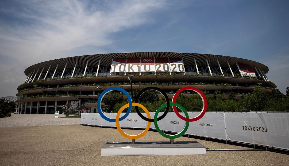 Stadion Nasional Jepang merupakan salah satu venue yang terletak di Kasumigaoka, Shinjuku, Tokyo, Jepang. Venue ini akan digunakan untuk cabang olah raga sepak bola, atletik, dan menjadi tempat pembukaan dan penutupan Olimpiade Tokyo 2020. (Foto: AFP/Behrouz Mehri)