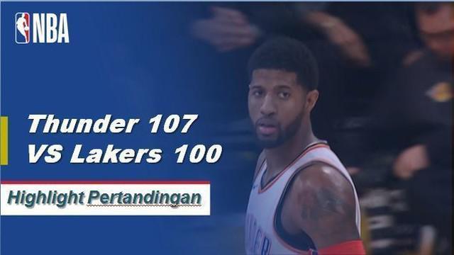 Paul George mencetak 37 poin untuk Thunder ketika mereka menang atas Lakers, 107-100.