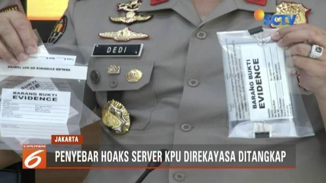 Siber Bareskrim Polri telah menangkap 2 penyebar hoaks server KPU direkayasa untuk memenangkan salah satu paslon di luar negeri.