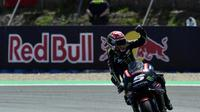 Pembalap Yamaha Tech 3, Johann Zarco mengamankan podium kedua MotoGP Spanyol 2018 di Sirkuit Jerez. (JAVIER SORIANO / AFP)