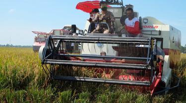 Menteri Pertanian Syahrul Yasin Limpo (Mentan SYL) melakukan panen raya padi di lahan seluas 300 hektar sekaligus melakukan gerakan serap gabah petani di Desa Telarsari, Kecamatan Jatisari, Kabupaten Karawang, hari Jumat (2/4/2021).