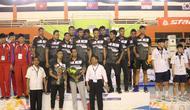 Timnas voli putra Indonesia yang diwakili Surabaya Bhayangkara Samator juara Asian Peace Cup International Volley Ball Competition yang berlangsung di Jakarta, 22-25 Juni 2019. (foto: PBVSI)