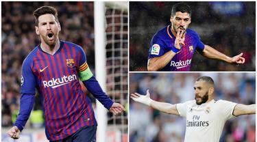 Striker Barcelona, Lionel Messi, berada posisi teratas dalam perburuan gelar top scorer Liga Spanyol dengan koleksi 29 gol. Berikut para pencetak gol terbanyak sementara di La Liga 2019. (Foto Kolase AP dan AFP)