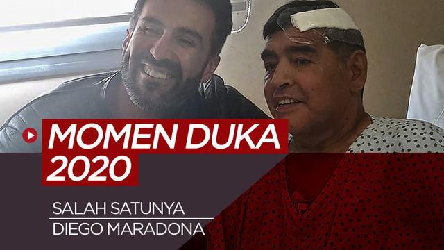 Berita motion grafis 5 momen guka dunia olahraga tahun 2020, salah satunya Diego Maradona.
