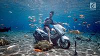 Pengunjung berfoto di atas sepeda motor dalam kolam renang Umbul Ponggok, Desa Polanharjo, Klaten, Jawa Tengah, Minggu (30/9). Selain sepeda motor, kolam renang ini juga berisi ikan, bebatuan, dan properti lainnya. (Liputan6.com/Gholib)