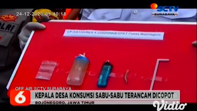 Polisi kembali menangkap pelaku yang sedang berpesta sabu-sabu, salah satunya JA yakni Kepala Desa Gunungsari, Bojonegoro, Jawa Timur. Untuk mempertanggungjawabkan perbuatannya, ia terancam hukuman 4 hingga 12 tahun penjara, dan denda pidana.