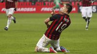 1. Krzysztof Piatek (AC Milan) - Striker yang baru direkrut dari Genoa itu tampil apik bersama AC Milan. Ia sukses memecahkan rekor Rossoneri berusia 70 tahun yaitu menjadi pemain tercepat yang mencetak enam gol sejak laga debutnya. (AP/Antonio Calanni)