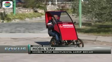 Memiliki bentuk seperti becak dan dapat dilipat sebesar koper, mobil ciptaan pria asal Bosnia ini diklaim dapat atasi masalah lahan parkir.