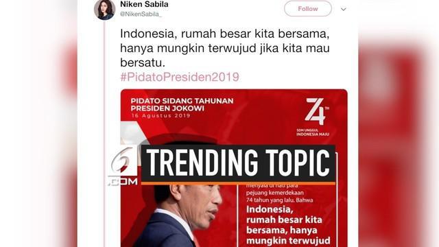 Pidato Kenegaraan Presiden Jokowi menjadi unggulan di trending topic Twitter hari ini.