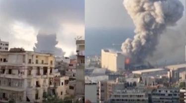 Ledakan di Beirut, Lebanon yang terekam kamera. (Ist)