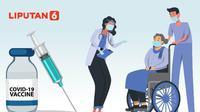 Banner Infografis Tahapan Pendaftaran Vaksinasi Covid-19 untuk Lansia. (Liputan6.com/Abdillah)