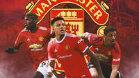 Manchester United - Paul Pogba, Jadon Sancho, Alexis Sanchez (Bola.com/Adreanus Titus)