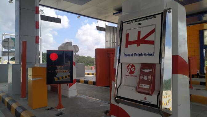 Gerbang tol Pekanbaru-Dumai pada, Kamis (20/02/2020) sore. (Liputan6.com/Athika Rahma)