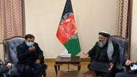 Mantan Wakil Presiden Jusuf Kalla (JK) bertemu Menteri Agama dan Haji Republik Islam Afghanistan, Mohammad Qasim Halimi di Istana Presiden Afganistan Char Chinar Palace di Kabul, Rabu (23/12/2020). (Ist)