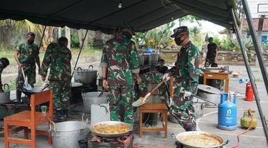 Dapur umum TNI di Banjar Serokadan, Bangli, Bali